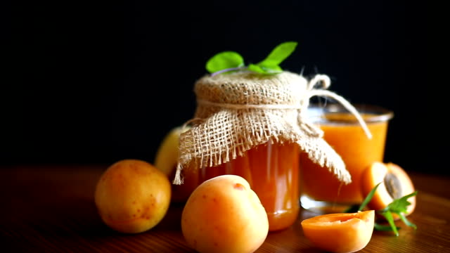 fresh sweet apricot jam - albicocca video stock e b–roll
