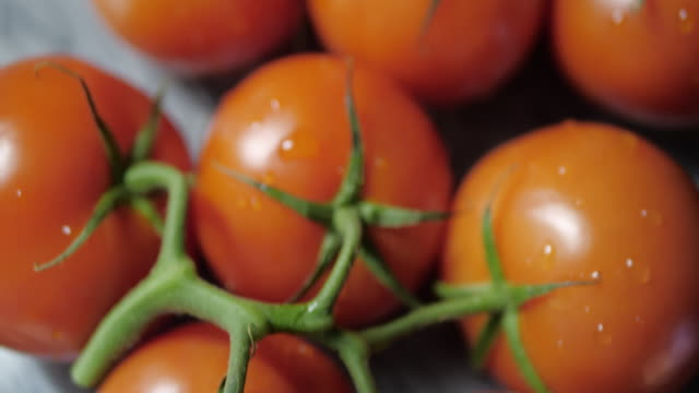 Fresh tomatoes on a marble stand. The camera slowly moves down. Dark background .No people.Transition to the dark. tomato salad stock videos & royalty-free footage