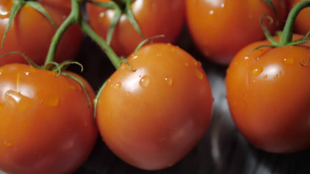 Fresh tomatoes on a marble stand. The camera slowly moves up. Dark background .No people. tomato salad stock videos & royalty-free footage