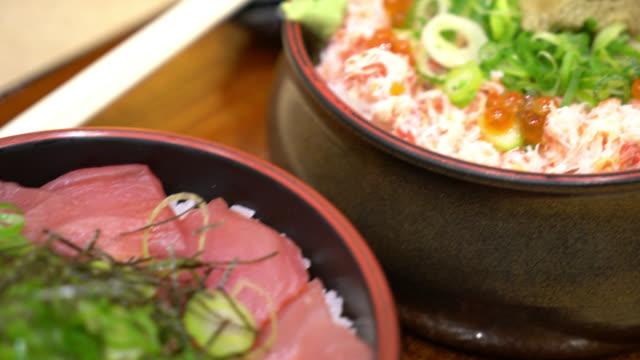 fresh tuna raw on topped rice - Japanese donburi