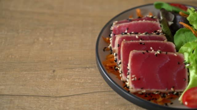 fresh tuna raw with vegetable salad fresh tuna raw with vegetable salad sashimi stock videos & royalty-free footage