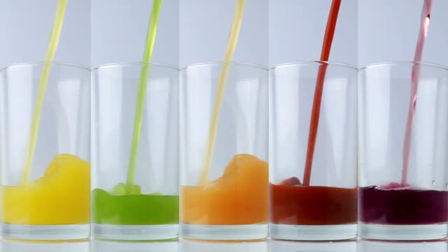 fresh vegetable and fruit juices in the glass for drinking healthy