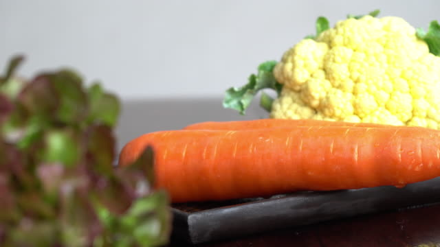Fresh vegetable slide motion