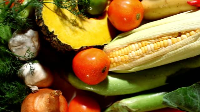 vídeos de stock e filmes b-roll de fresh vegetables in market - formato bruto