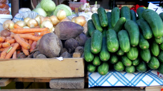 Fresh vegetables on the Counter in the Store video