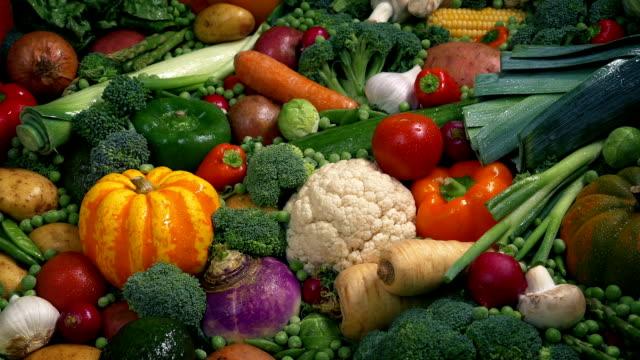 Fresh Wet Vegetables In Colorful Display