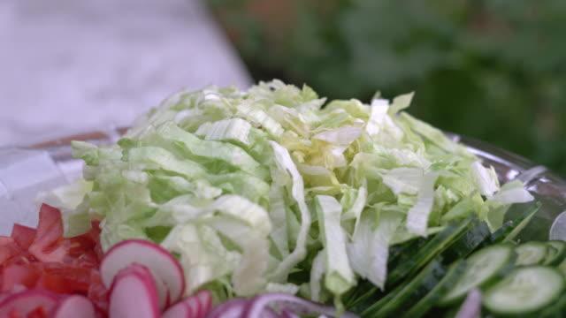 nyhackad sommar sallad. många läckra grönsaker i glas salladsskål-gurka, sallad, rädisor, tomater, rödlök - böngrodd bildbanksvideor och videomaterial från bakom kulisserna