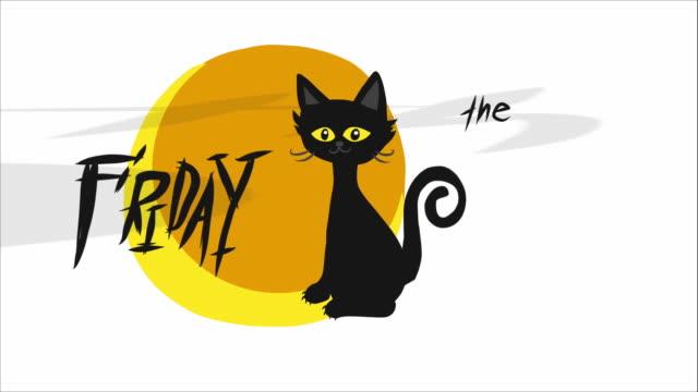 금요일 13 일 검은 고양이와 보름달 만화 - black friday 스톡 비디오 및 b-롤 화면