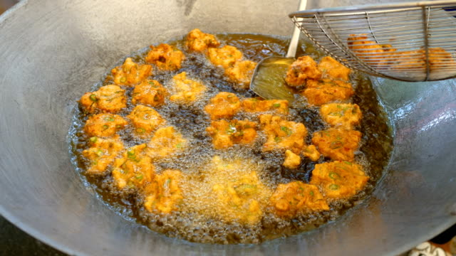 Fried Fish Patty Cooking in Boiled Oil video