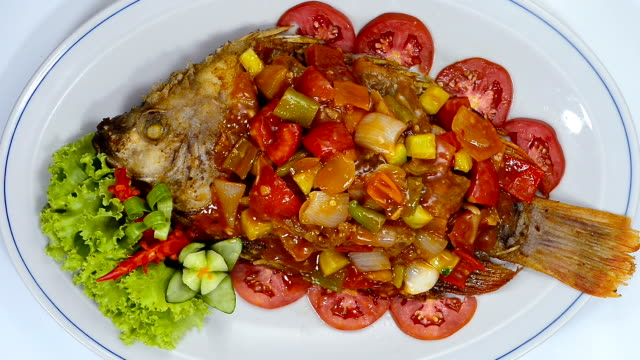Fried Fish with Sweet and Sour Sauce Thai Food Mixed Asian fusion Style