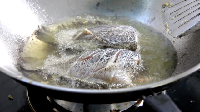 fried gourami fish on hot oil in pan video