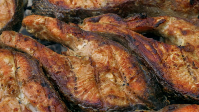 Fried grilled salmon on bbq. Marinade from white sauce and lemon. video
