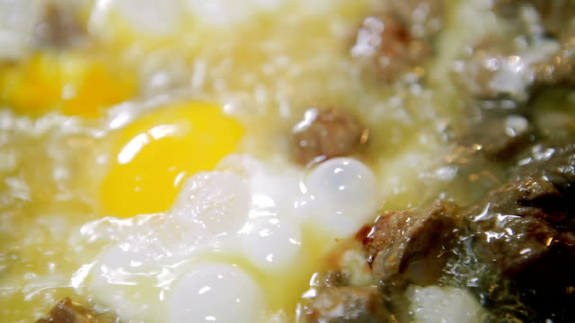 fried meat and omelet - padella pentola video stock e b–roll