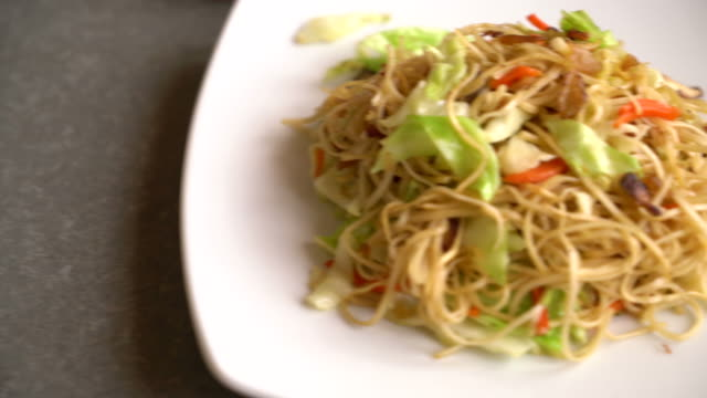 fried noodles with ingredient fried noodles with ingredient electron micrograph stock videos & royalty-free footage
