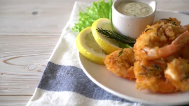 fried shrimp with sauce fried shrimp with sauce shrimp seafood stock videos & royalty-free footage