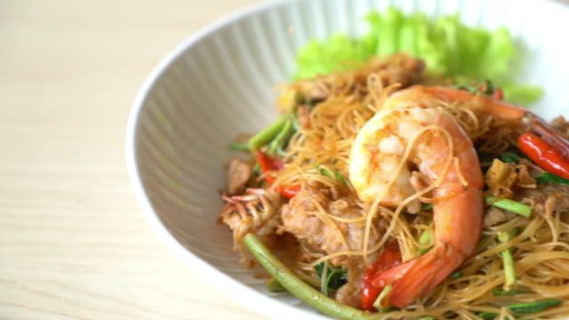 fried white vermicelli and water mimosa with shrimps video