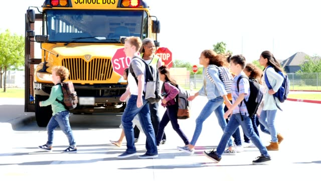 friendly female school crossing guard leads children across a street - school buses stock videos and b-roll footage