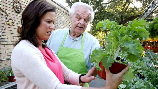 Friendly senior adult sales clerk explains kale selection to mid-adult female video