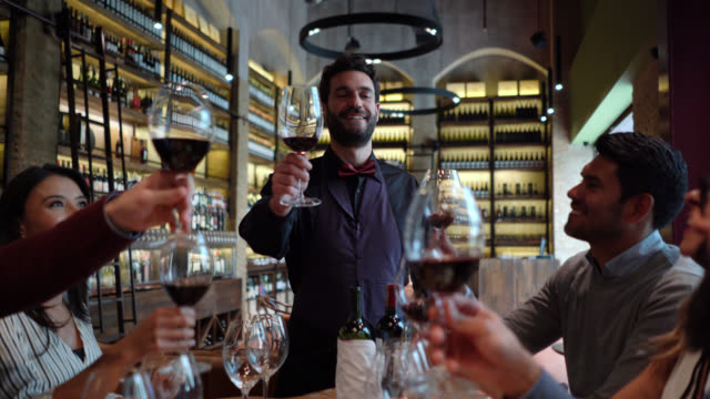 Friendly sommelier proposing a toast during a wine tasting with a group of people