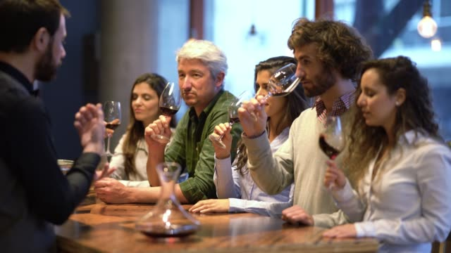 Friendly wine steward telling his customers to smell the wine at a wine tasting all looking happy and curious video