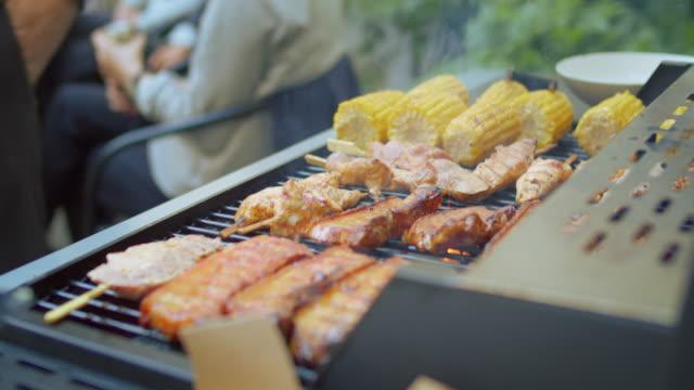 vídeos y material grabado en eventos de stock de amigos y familiares en la fiesta de barbacoa del patio trasero - grilling