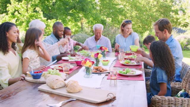 freunde und familie beim mittagessen an einem tisch im garten - gartenparty stock-videos und b-roll-filmmaterial