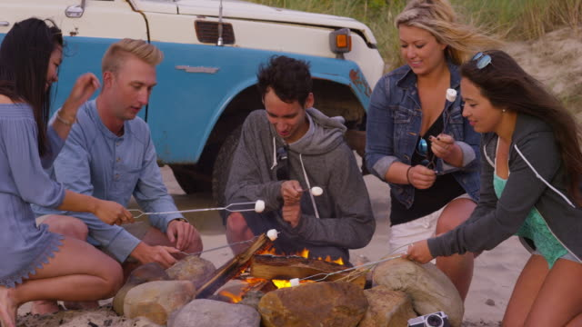 Friends at beach roasting marshmallows - video