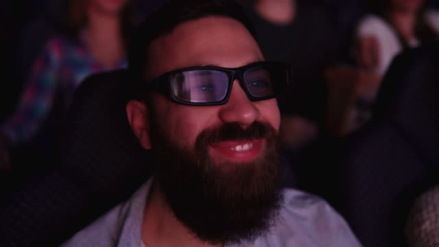 Friends at cinema on 3D projection video