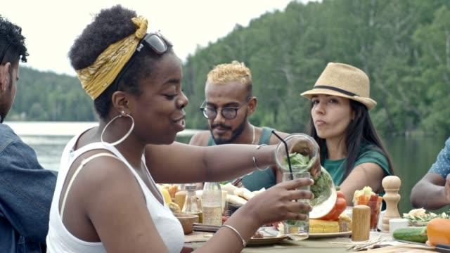 vídeos de stock e filmes b-roll de friends at picnic by lake - limonada tradicional