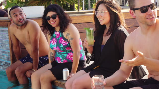 Friends at Pool party Smile for Camera video
