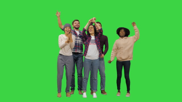 Friends at the concert having fun on a Green Screen, Chroma Key
