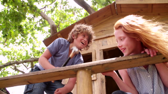 Friends building a treehouse together on a summer day video