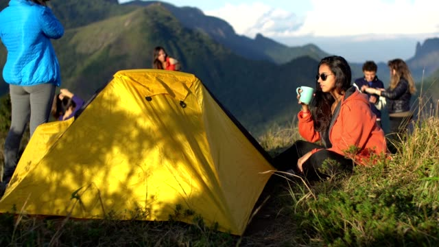 friends camping on the mountain - south america travel stock videos and b-roll footage