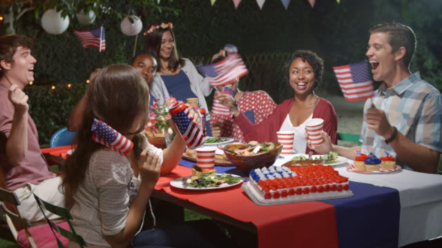 Friends Celebrating 4th Of July With Backyard Party video