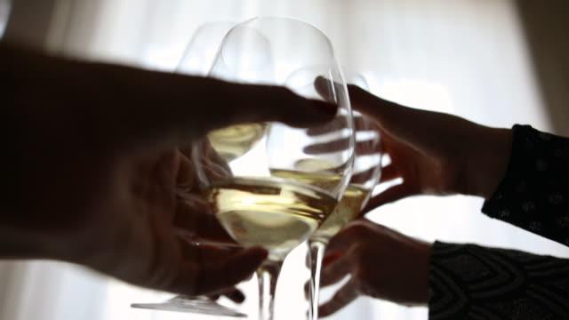vänner jublande med champagne glasögon - vitt vin glas bildbanksvideor och videomaterial från bakom kulisserna