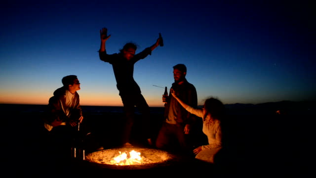 Friends Drinking Beer at Beach Bonfire - video