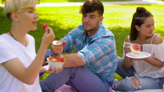 freunde, die früchte zu essen, beim picknick im sommerpark - teenage friends sharing food stock-videos und b-roll-filmmaterial