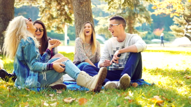 Friends eating pizza on picnic Group of young friends eating pizza while chatting on a picnic  during sunny autumn day. recreational pursuit stock videos & royalty-free footage