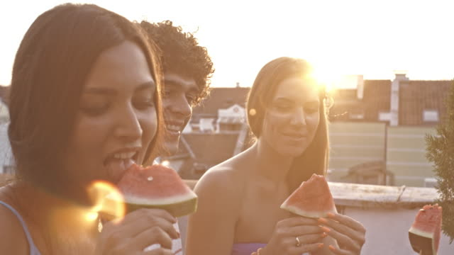 Friends eating watermelon on rooftop party video