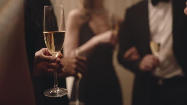 vídeos de stock e filmes b-roll de friends enjoying drinks at a party - glamour