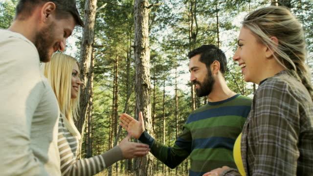 Friends enjoying in forest video