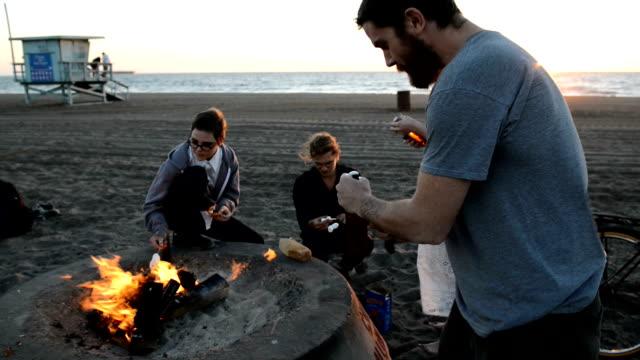 Amis se réunissent autour de Beach Bonfire - Vidéo