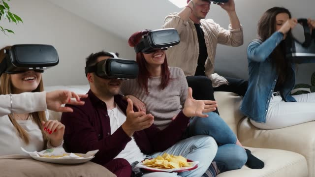 Friends having a selfie with vr goggles video