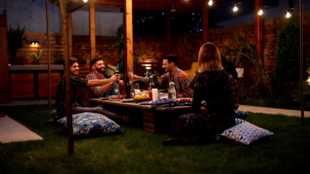 friends having barbecue party - garden party stock videos and b-roll footage
