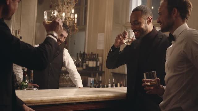 amici che bevono qualcosa a una festa - eleganza video stock e b–roll