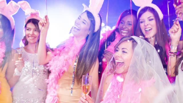 friends having fun at a bachelorette party - bachelorette party stock videos and b-roll footage