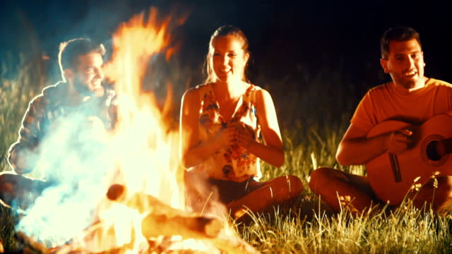 Friends having fun by campfire. video