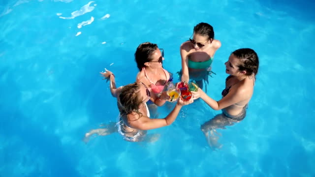 Friends having fun in pool video