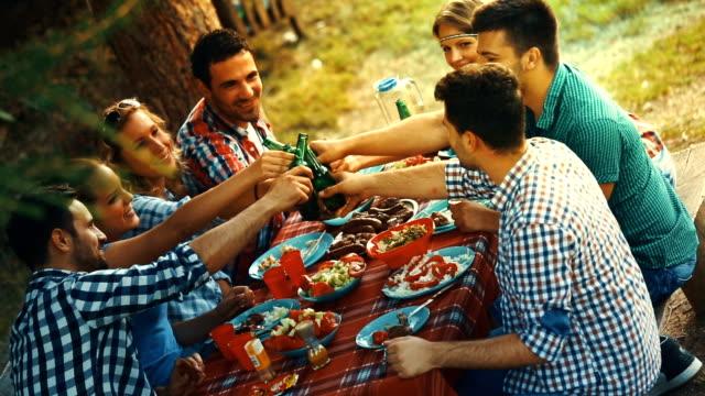 Friends having garden party. video