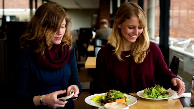 freunde mit mittagessen - salat speisen stock-videos und b-roll-filmmaterial